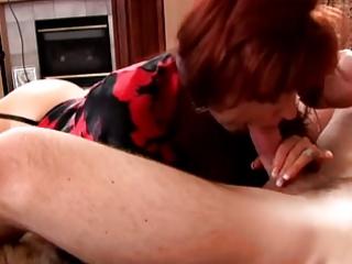 mature redhead in lingerie