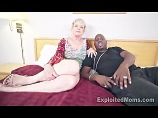 Granny in creampie interracial video