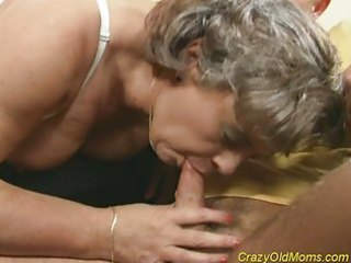 Crazy old mom gets cock fucked and office blowjob