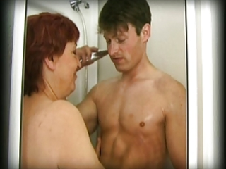 bushy granny finds a guy in her shower