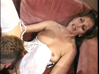 Retro MILF fucked deep on couch