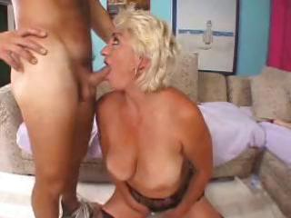 nasty blonde granny toys herself then blows cock,
