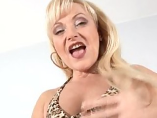 mature aged blonde anal bead play