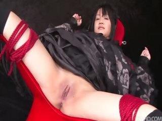 hikaru momose fastened spread wide open in a