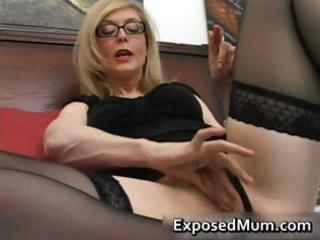 golden-haired mum in glasses licking hard part10