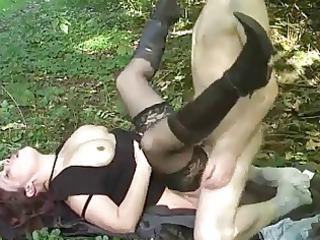 german milf screwed in garden by young dude