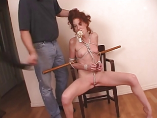 redhead milf fastened with rope and her undies