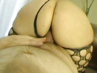 horny blonde milf from uk fucks in dark fishnets