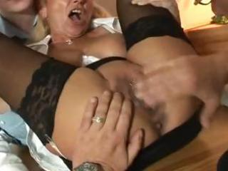 German milf in anal action with 2 guys