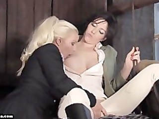 hot breasty lesbian babes have a fun licking and