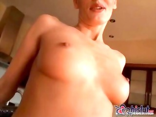 cocky white blondie impales her arse onto a