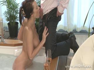 mama couple make love in a sexy tub
