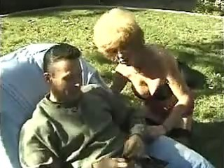 Horny mature granny fucking outdoors