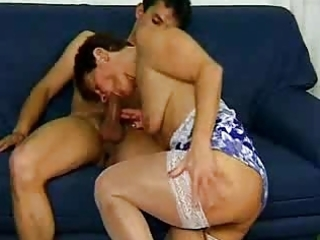granny in white nylons excites the chap