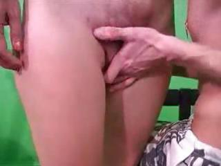 Short-haired russian blonde milf does a dude