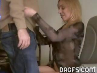 golden-haired wife needs money so she sucks this