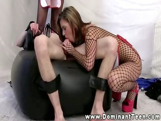 dominas take turns riding his hard dong in their