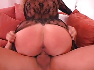 german wife large scones in hot catsuit laid