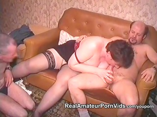 aged obese housewife is fucked by two guys