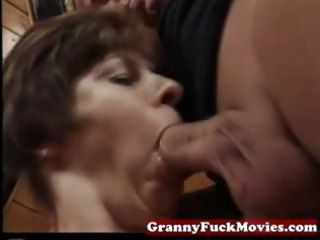 granny sucking and pounding hirsute vagina
