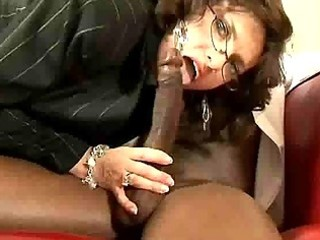 Sizzling interracial mature office fucking