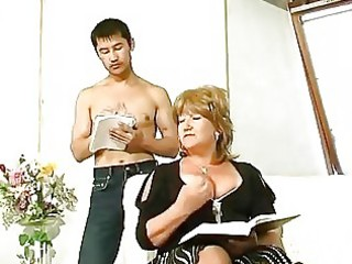 bulky older drilled by oriental guy
