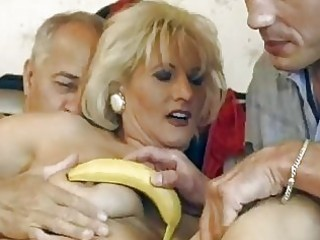 aged german blond acquires double fucked