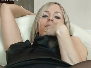 hawt golden-haired mother i in hose uncovers her