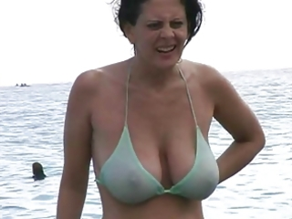 hawt milf in bikini at the beach