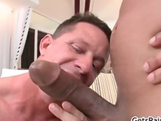 mature muscle lad sucking darksome cock part2