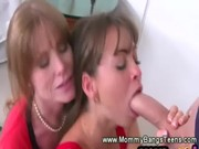 step mama and daughter blwoing on dick