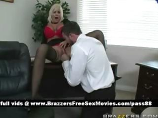 aged blond bitch at work acquires her cunt
