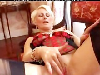 pierced mature in dark fully fashioned nylons