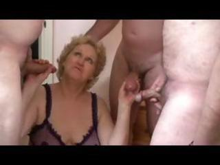 golden-haired granny receives three dongs pumping