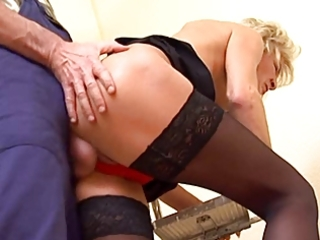 slender golden-haired older in nylons fucks the