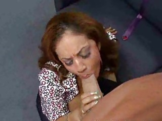 mature brunette gets blindfolded in car and lead