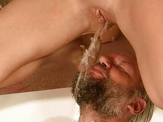 granddad and angel pissing and fucking