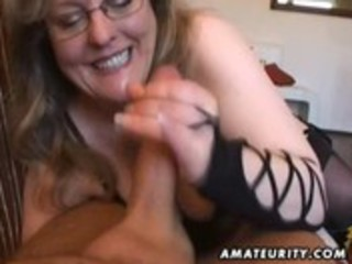 breasty amateur wife tugjob and blowjob with cum