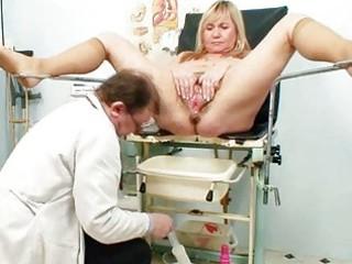 big tits blond mature hirsute pussy exam