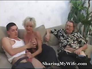 older breasty blond receives it with one boy