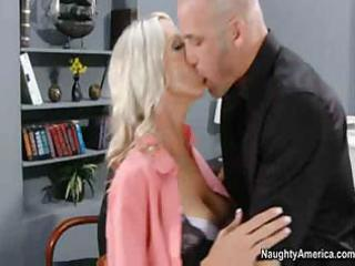 blonde milf with hairless slit receives her slit