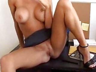 blonde milf sucks weenie in the office place