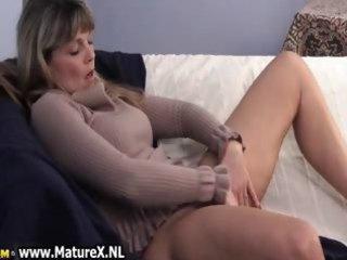 mature aged woman enjoys laying part4