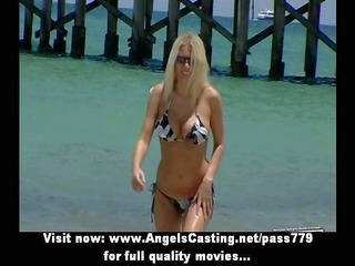 outstanding blonde non-professional lady doing