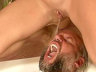 granddad and youthful beauty pissing and fucking