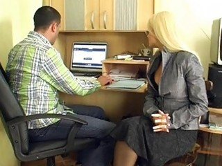 Mature blonde secretary gives group blowjobs