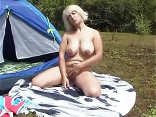 camping busty mother