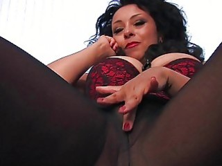 naughty black haired milf in darksome hose plays