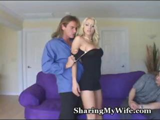 young blonde wife screws a hunky guy and makes