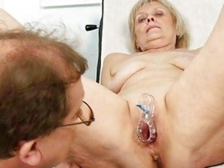 aged old brigita getting bawdy cleft exam from